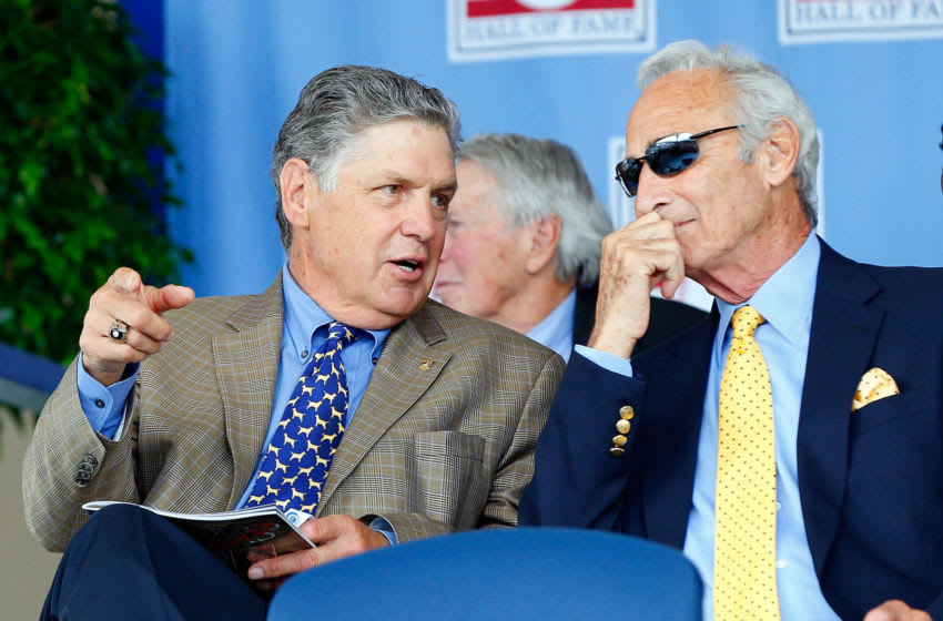 COOPERSTOWN, NY - JULY 27: Baseball Hall of Famers Tom Seaver (L) and Sandy Koufax attend the Baseball Hall of Fame induction ceremony at Clark Sports Center during on July 27, 2014 in Cooperstown, New York. (Photo by Jim McIsaac/Getty Images)