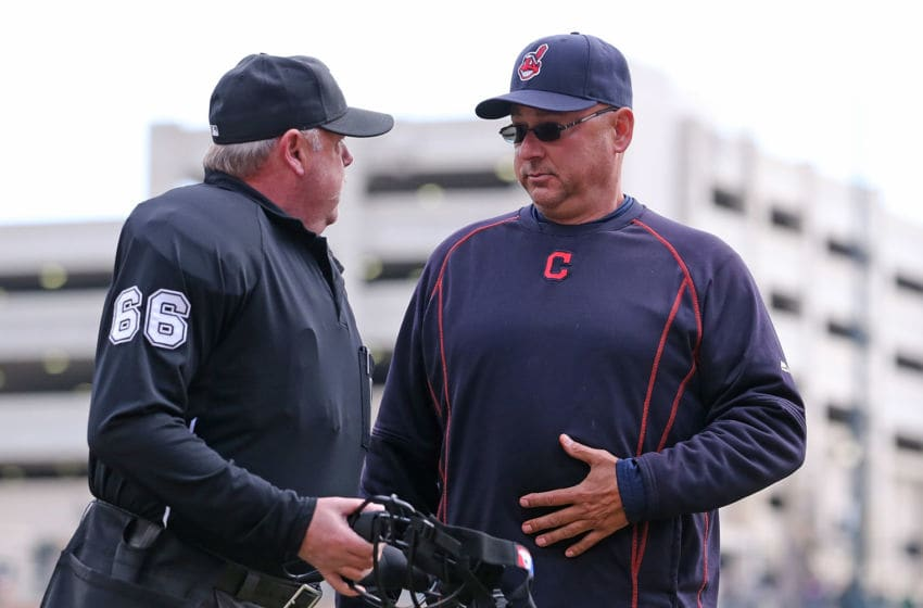 DETROIT, MI - APRIL 26: Cleveland Indians manager Terry Francona #17 challenges a call with home plate umpire Jim Joyce during the second inning of the game against the Detroit Tigers on April 26, 2015 at Comerica Park in Detroit, Michigan. (Photo by Leon Halip/Getty Images)