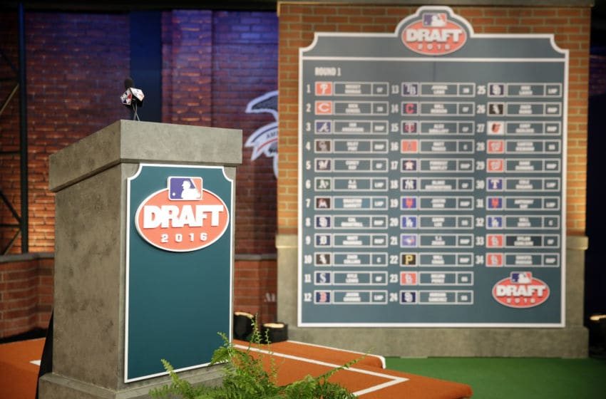 SECAUCUS, NJ - JUNE 9: A detail shot of the completed draft board of the first round of the 2016 Major League Baseball First-Year Player Draft at the MLB Network on Thursday, June 9, 2016 in Secaucus, New Jersey. (Photo by Matthew Ziegler/MLB via Getty Images)