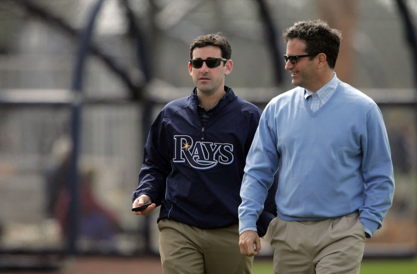 19 FEB 2010: President Matthew Silverman and Principal Owner Stuart Sternberg of the Rays stroll around the fields during the spring training practice at the Charlotte Sports Park in Port Charlotte, Florida. (Photo by Cliff Welch/Icon SMI/Icon Sport Media via Getty Images)