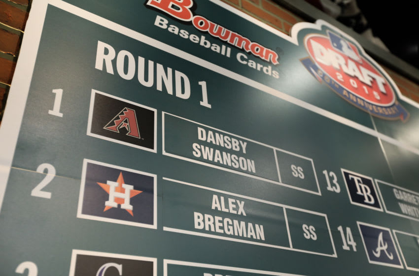 08 JUN 2015: The draft board show the first selection of Dansby Swanson by the Arizona Diamondbacks and Alex Bregman by the the Houston Astros during round 1 of the Major league Baseball First Year Player Draft held at Studio 42 of the MLB Network in Secaucus,NJ. (Photo by Rich Graessle/Icon Sportswire/Corbis/Icon Sportswire via Getty Images)