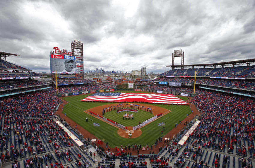 PHILADELPHIA, PA - APRIL 07: Opening day ceremony before a game between the Philadelphia Phillies and the Washington Nationals at Citizens Bank Park on April 7, 2017 in Philadelphia, Pennsylvania. (Photo by Rich Schultz/Getty Images)