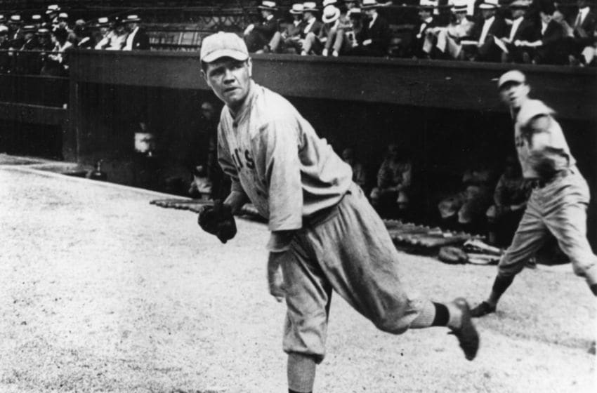 CLEVELAND - 1919. Babe Ruth, pitcher for the Boston Red Sox, warms up before a game in League Park in Cleveland in 1919. (Photo by Mark Rucker/Transcendental Graphics, Getty Images)