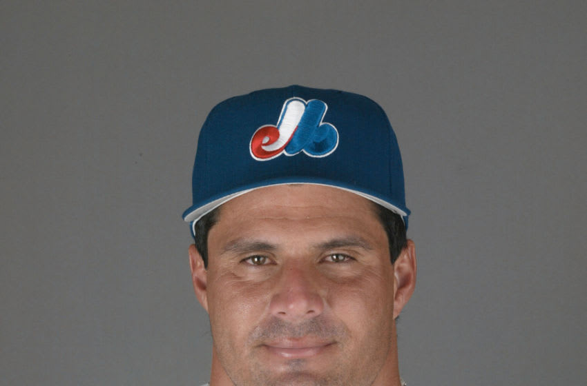 22 Feb 2002: Jose Canseco of the Montreal Expos during Spring Training Picture Day at Roger Dean Stadium in Jupiter Florida. DIGITAL IMAGE. Mandatory Credit: Eliot Schechter/Getty Images