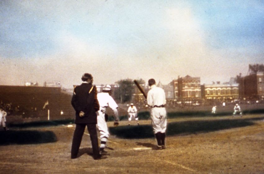 CHICAGO - OCTOBER, 1907. With the photographer crouching behind home plate in Wrigley Field, we get a view of Ty Cobb at bat during the 1907 World Series, in Chicago. Johnny Kling is the Cubs' catcher, and you can see Joe TInker at shortstop in the right portion of the photo. The photo is a glass slide of the 1907 Series, designed to be projected between movies in a cinema one hundred years ago. (Photo by Mark Rucker/Transcendental Graphics, Getty Images)