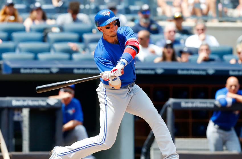 NEW YORK, NY - JULY 05: Troy Tulowitzki #2 of the Toronto Blue Jays in action against the New York Yankees at Yankee Stadium on July 5, 2017 in the Bronx borough of New York City. The Blue Jays defeated the Yankees 7-6. (Photo by Jim McIsaac/Getty Images)