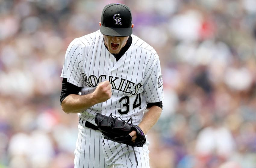 DENVER, CO - AUGUST 06: Starting pitcher Jeff Hoffman #34 of the Colorado Rockies celebrates the last out in the top of the seventh inning against the Philadelphia Phillies at Coors Field on August 6, 2017 in Denver, Colorado. (Photo by Matthew Stockman/Getty Images)
