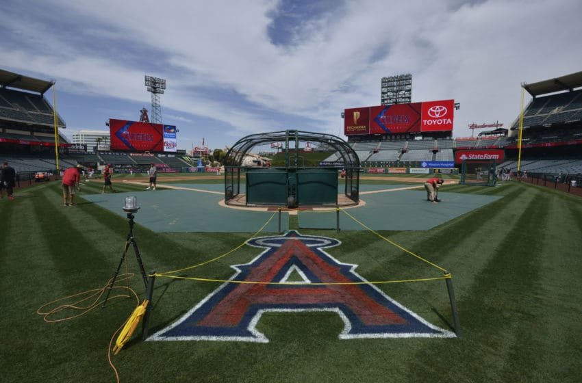 ANAHEIM, CA - APRIL 21: A freshly repainted logo at Angel Stadium on April 21, 2018 in Anaheim, California. (Photo by John McCoy/Getty Images)