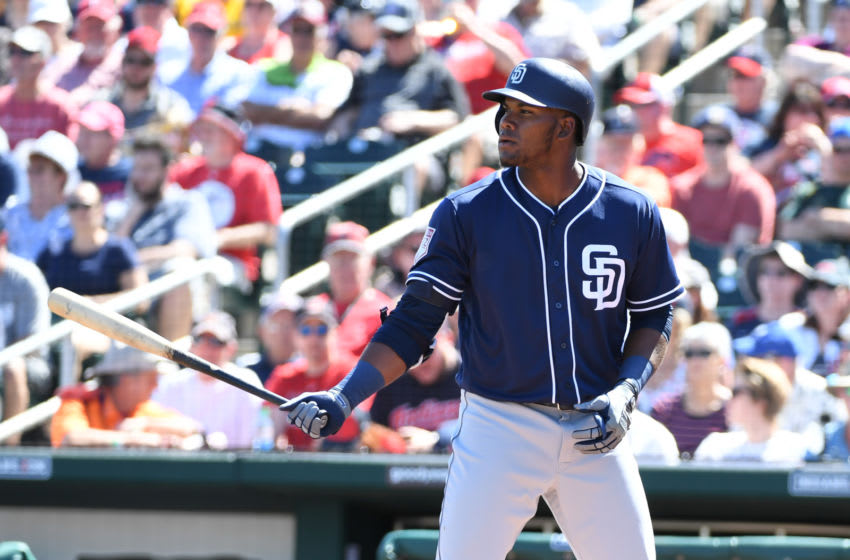 GOODYEAR, ARIZONA - MARCH 18: Franchy Cordero #33 of the San Diego Padres gets ready in the batters box during a spring training game against the Cleveland Indians at Goodyear Ballpark on March 18, 2019 in Goodyear, Arizona. (Photo by Norm Hall/Getty Images)