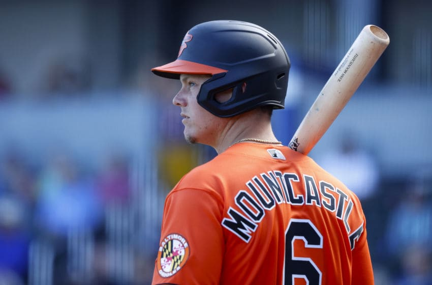 NORTH PORT, FL - FEBRUARY 22: Ryan Mountcastle #6 of the Baltimore Orioles looks on while waiting to bat during a Grapefruit League spring training game against the Atlanta Braves at CoolToday Park on February 22, 2020 in North Port, Florida. The Braves defeated the Orioles 5-0. (Photo by Joe Robbins/Getty Images)