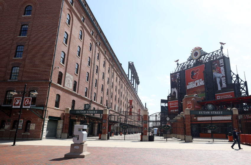 BALTIMORE, MARYLAND - MARCH 26: A general view of the Eutaw Street entrance of Oriole Park at Camden Yards on March 26, 2020 in Baltimore, Maryland. The Baltimore Orioles and New York Yankees Opening Day game scheduled for today, along with the entire MLB season, has been postponed due to the COVID-19 pandemic. (Photo by Rob Carr/Getty Images)