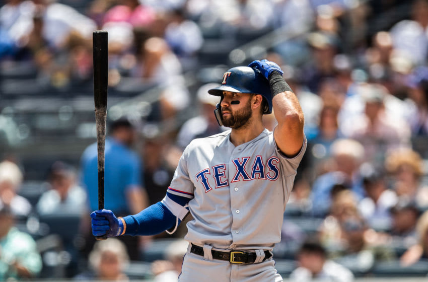 NEW YORK, NY - AUGUST 12: Joey Gallo #13 of the Texas Rangers bats during the game against the New York Yankees at Yankee Stadium on Sunday August 12, 2018 in the Bronx borough of New York City. (Photo by Rob Tringali/SportsChrome/Getty Images)