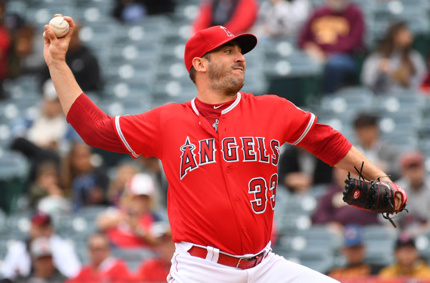 ANAHEIM, CA - MAY 23: Matt Harvey #33 of the Los Angeles Angels of Anaheim pitches in the second inning of the game against the Minnesota Twins at Angel Stadium of Anaheim on May 23, 2019 in Anaheim, California. (Photo by Jayne Kamin-Oncea/Getty Images)