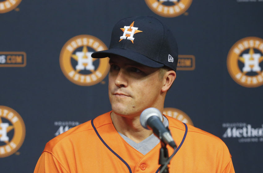 HOUSTON, TEXAS - AUGUST 02: Pitcher Zach Greinke of the Houston Astros talks with the media at Minute Maid Park on August 02, 2019 in Houston, Texas. Greinke was acquired at the trade deadline from the Arizona Diamondbacks. (Photo by Bob Levey/Getty Images)