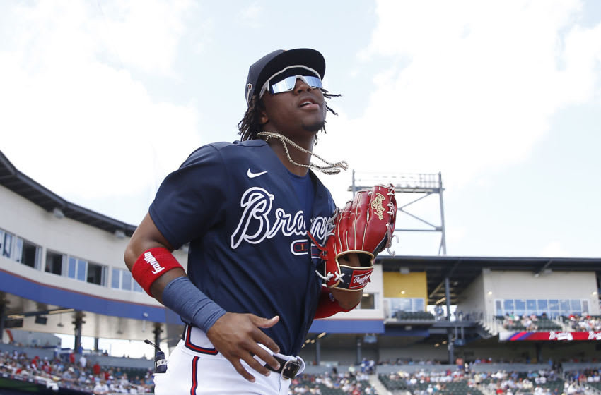 NORTH PORT, FLORIDA - MARCH 10: Ronald Acuna Jr. #13 of the Atlanta Braves in action against the Houston Astros during a Grapefruit League spring training game at CoolToday Park on March 10, 2020 in North Port, Florida. (Photo by Michael Reaves/Getty Images)