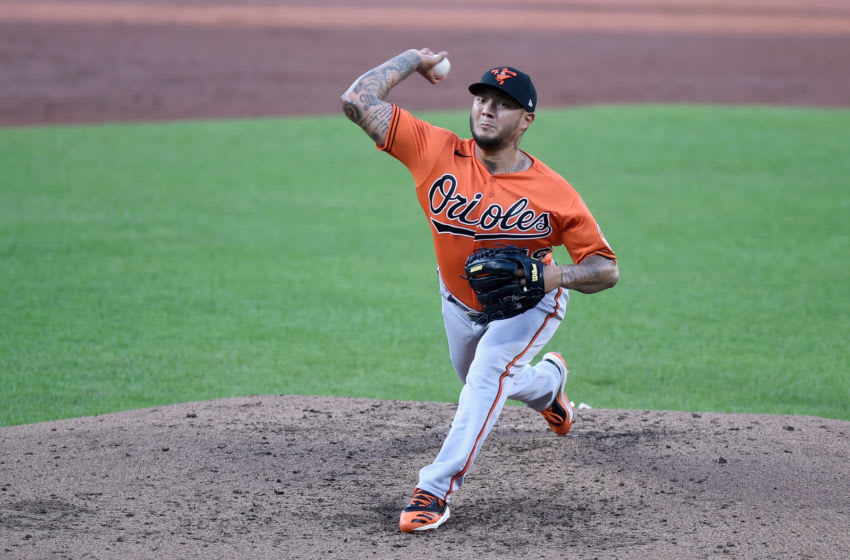 BALTIMORE, MD - JULY 09: Hector Velazquez #76 of the Baltimore Orioles pitches during an intrasquad game at Oriole Park at Camden Yards on July 9, 2020 in Baltimore, Maryland. (Photo by Greg Fiume/Getty Images)