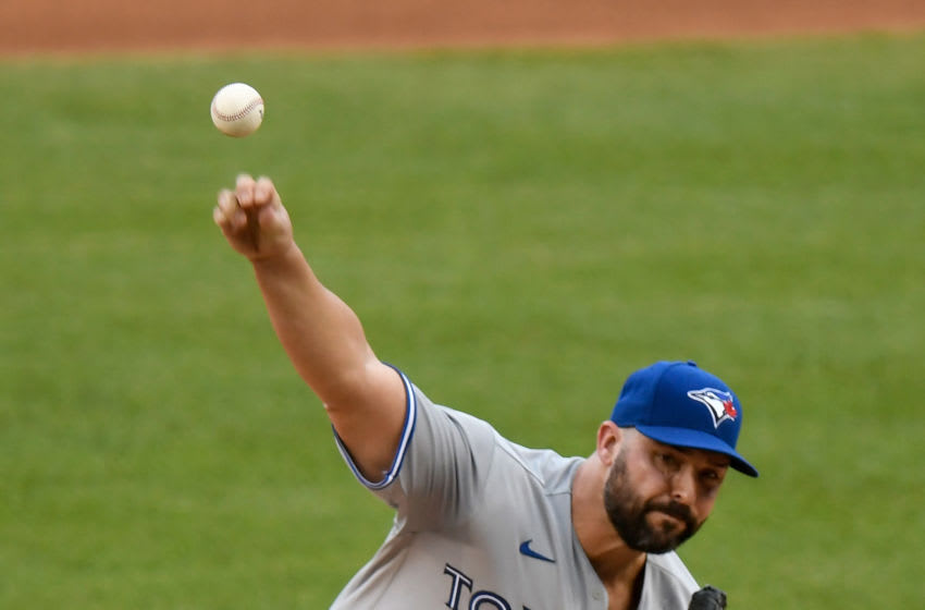 WASHINGTON, DC - JULY 28: Tanner Roark #14 of the Toronto Blue Jays pitches in the first inning against the Washington Nationals at Nationals Park on July 28, 2020 in Washington, DC. (Photo by Greg Fiume/Getty Images)