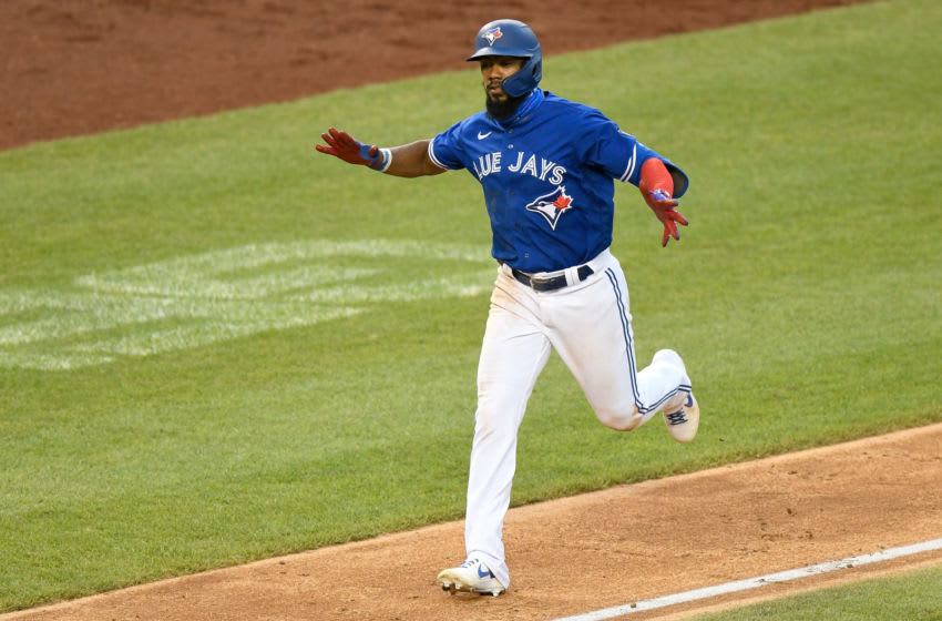 WASHINGTON, DC - JULY 30: Teoscar Hernandez #37 of the Toronto Blue Jays celebrates after hitting a home run in the eighth inning against the Washington Nationals at Nationals Park on July 30, 2020 in Washington, DC, United States. The Blue Jays played as the home team due to their stadium situation and the Canadian governmentÕs policy on COVID-19. (Photo by Greg Fiume/Getty Images)