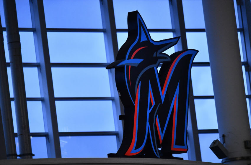 MIAMI, FLORIDA - JULY 17: A general view of the Miami Marlins logo in the outfield during an intrasquad game at Marlins Park at Marlins Park on July 17, 2020 in Miami, Florida. (Photo by Mark Brown/Getty Images)