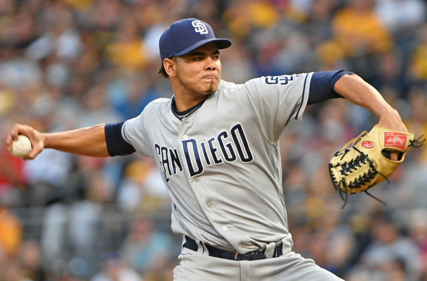 PITTSBURGH, PA - AUGUST 05: Dinelson Lamet #64 of the San Diego Padres delivers a pitch in the first inning during the game against the Pittsburgh Pirates at PNC Park on August 5, 2017 in Pittsburgh, Pennsylvania. (Photo by Justin Berl/Getty Images)