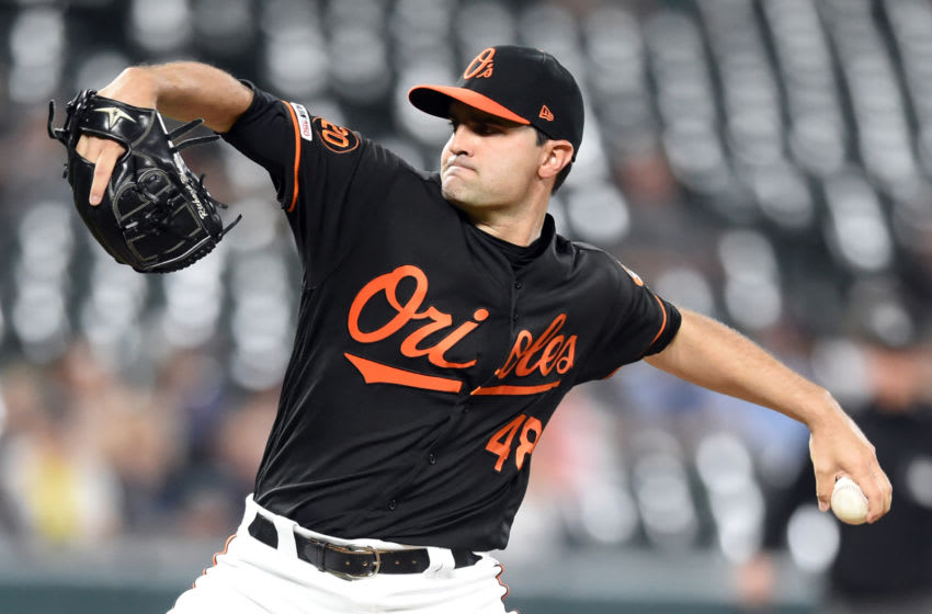 BALTIMORE, MD - SEPTEMBER 20: Richard Bleier #48 of the Baltimore Orioles pitches during a baseball game against the Seattle Mariners at Oriole Park at Camden Yards on September 20, 2019 in Baltimore, Maryland. (Photo by Mitchell Layton/Getty Images)