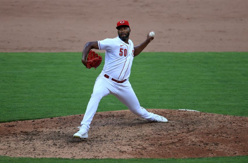 CINCINNATI, OHIO - JULY 25: Amir Garrett #50 of the Cincinnati Reds throws a pitch against the Detroit Tigers at Great American Ball Park on July 25, 2020 in Cincinnati, Ohio. (Photo by Andy Lyons/Getty Images)