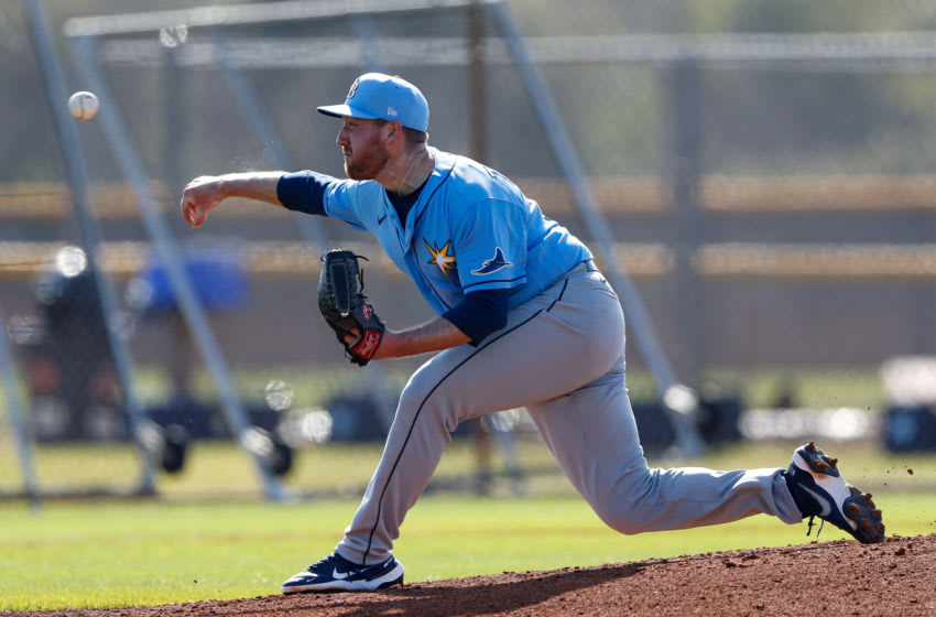 Feb 24, 2021; Port Charlotte, Florida, USA; Tampa Bay Rays pitcher Tyler Zombro (39) pitches a simulated inning during spring training at Charlotte Sports Park Mandatory Credit: Nathan Ray Seebeck-USA TODAY Sports