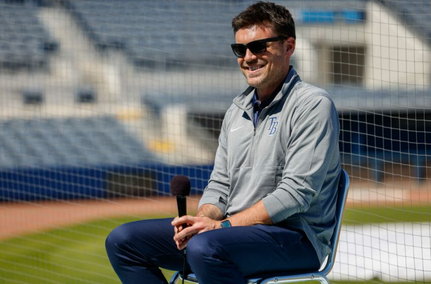 Feb 23, 2021; Port Charlotte, Florida, USA; Tampa Bay Rays senior vice president, baseball operations/general manager Erik Neander holds a press conference on the first day of full squad workouts during spring training at Charlotte Sports Park Mandatory Credit: Nathan Ray Seebeck-USA TODAY Sports