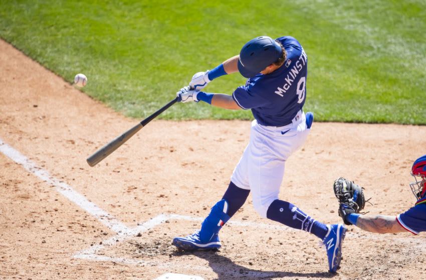 Mar 19, 2021; Glendale, Arizona, USA; Los Angeles Dodgers infielder Zach McKinstry against the Texas Rangers during a Spring Training game at Camelback Ranch Glendale. Mandatory Credit: Mark J. Rebilas-USA TODAY Sports