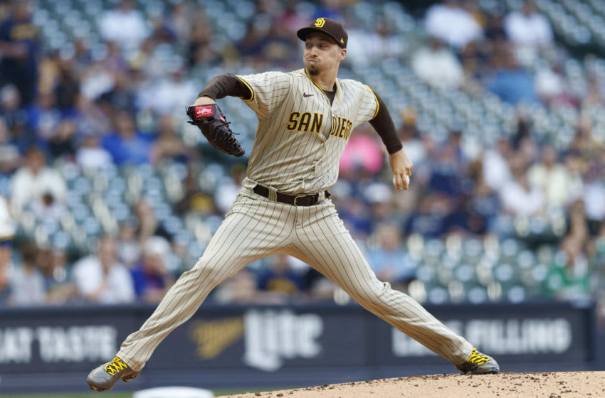 May 24, 2021; Milwaukee, Wisconsin, USA; San Diego Padres pitcher Blake Snell (4) throws a pitch during the first inning against the Milwaukee Brewers at American Family Field. Mandatory Credit: Jeff Hanisch-USA TODAY Sports