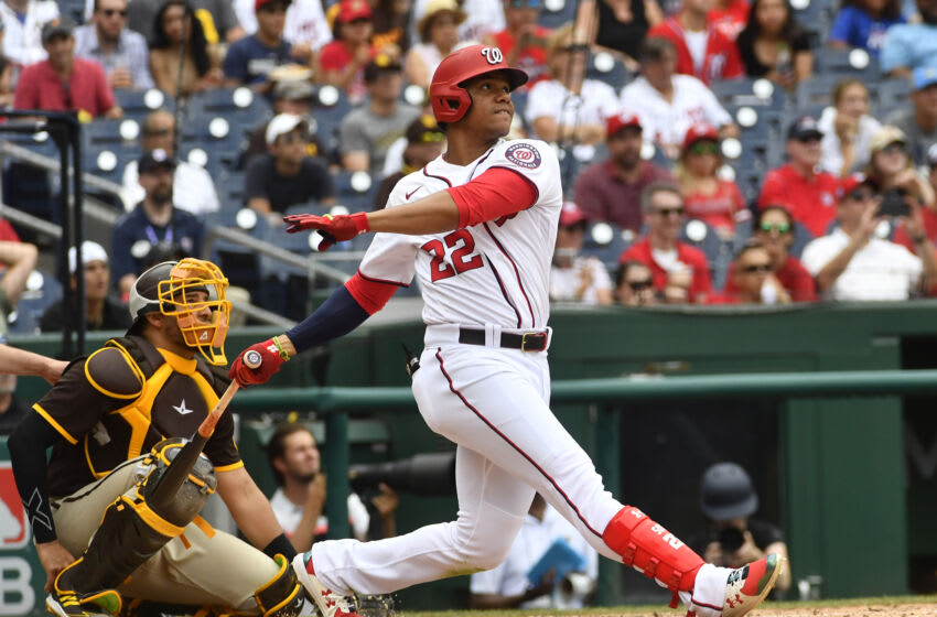Jul 18, 2021; Washington, District of Columbia, USA; Washington Nationals left fielder Juan Soto (22) bats against the San Diego Padres in the ninth inning after resuming play from last night's suspended game at Nationals Park. Mandatory Credit: Brad Mills-USA TODAY Sports