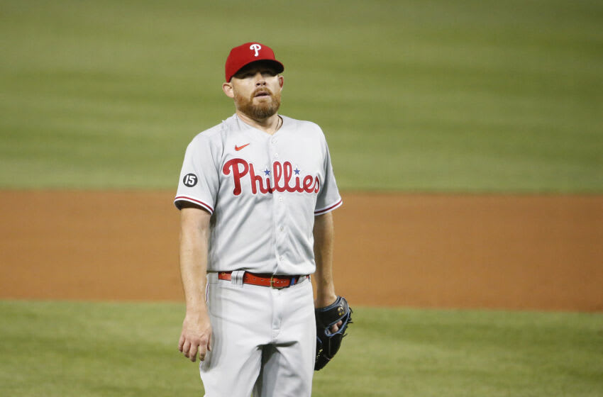 Aug 2, 2021; Washington, District of Columbia, USA; Philadelphia Phillies relief pitcher Ian Kennedy (31) reacts after defeating the Washington Nationals at Nationals Park. Mandatory Credit: Amber Searls-USA TODAY Sports