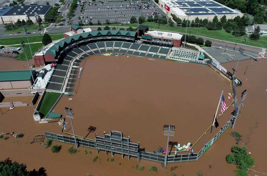 TD Bank Ballpark in Bridgewater is shown under floodwaters Thursday, September 2, 2021. Somerset Flooding