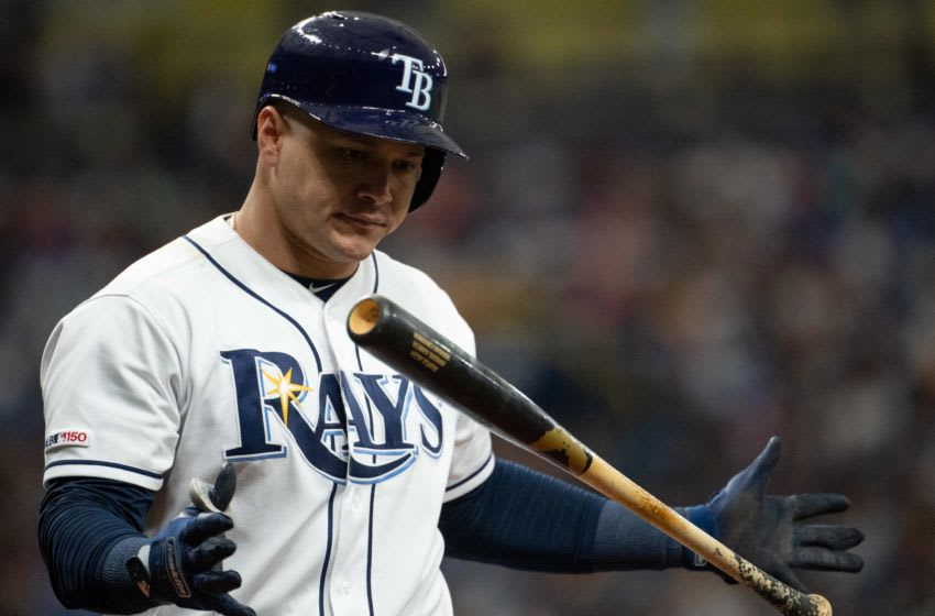 Jul 6, 2019; St. Petersburg, FL, USA; Tampa Bay Rays right fielder Avisail Garcia (24) reacts to being struck out during the second inning against the New York Yankees at Tropicana Field. Mandatory Credit: Douglas DeFelice-USA TODAY Sports