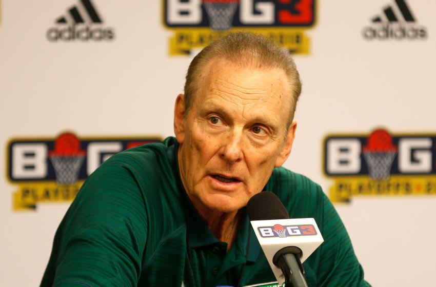 DALLAS, TX - AUGUST 17: Ball Hogs head coach Rick Barry visits with the media after defeating the Ghost Ballers during week nine of the BIG3 three-on-three basketball league at the American Airlines Center on August 17, 2018 in Dallas, Texas. (Photo by Ron Jenkins/BIG3/Getty Images)