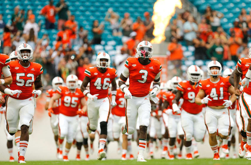 MIAMI GARDENS, FL - NOVEMBER 24: The Miami Hurricanes take the field prior to the game against the Pittsburgh Panthers at Hard Rock Stadium on November 24, 2018 in Miami Gardens, Florida. (Photo by Michael Reaves/Getty Images)