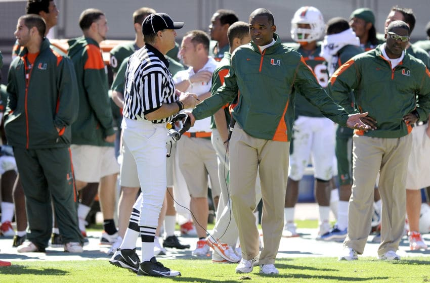 MIAMI, FL - NOVEMBER 06: Head coach Randy Shannon of the Miami Hurricanes talks with an official during the game against the Maryland Terrapins at Sun Life Stadium on November 6, 2010 in Miami, Florida. Miami defeated Maryland 26-20. (Photo by G Fiume/Maryland Terrapins/Getty Images)