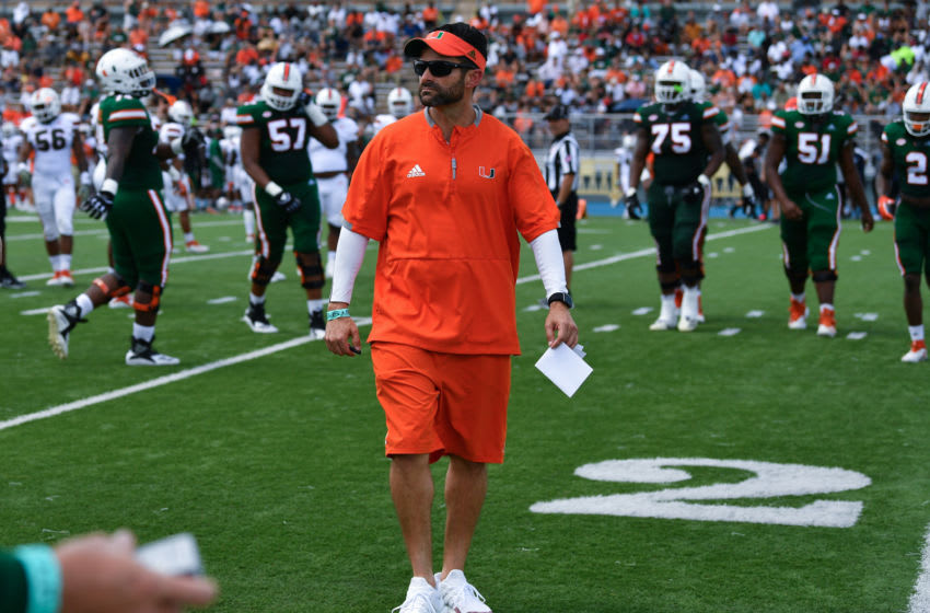 MIAMI, FL - APRIL 13: Head coach Manny Diaz of the Miami Hurricanes coaching during the annual Spring Game at Nathaniel Traz-Powell Stadium on April 13, 2019 in Miami, Florida. (Photo by Mark Brown/Getty Images)