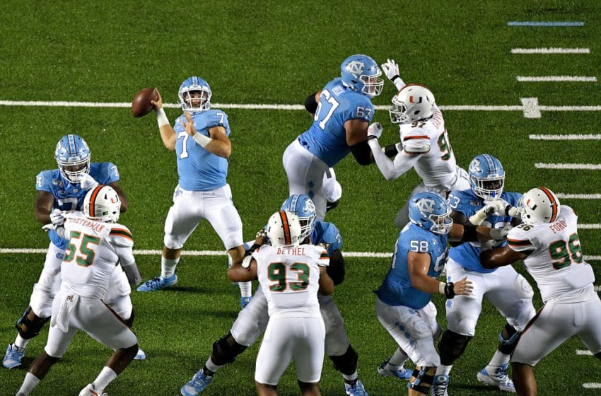 CHAPEL HILL, NORTH CAROLINA - SEPTEMBER 07: Sam Howell #7 of the North Carolina Tar Heels drops back to pass against the Miami Hurricanes during the first half of their game at Kenan Stadium on September 07, 2019 in Chapel Hill, North Carolina. (Photo by Grant Halverson/Getty Images)