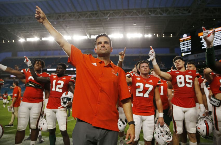 MIAMI, FLORIDA - SEPTEMBER 14: Head coach Manny Diaz of the Miami Hurricanes celebrates after the game against the Bethune Cookman Wildcats at Hard Rock Stadium on September 14, 2019 in Miami, Florida. (Photo by Michael Reaves/Getty Images)