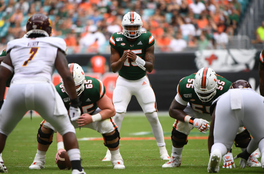 MIAMI, FLORIDA - SEPTEMBER 21: Jarren Williams #15 of the Miami Hurricanes lines up in the first half against the Central Michigan Chippewas at Hard Rock Stadium on September 21, 2019 in Miami, Florida. (Photo by Mark Brown/Getty Images)