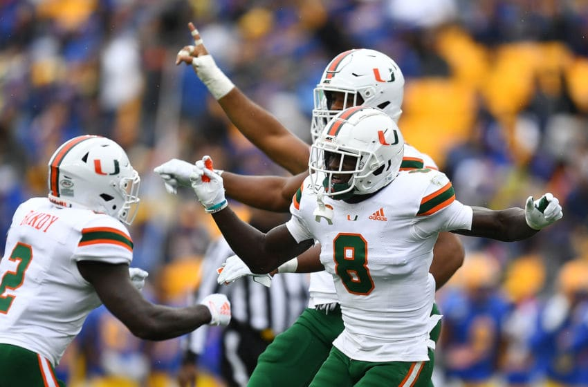 PITTSBURGH, PA - OCTOBER 26: DJ Ivey #8 of the Miami Hurricanes celebrates after intercepting a pass during the first quarter against the Pittsburgh Panthers at Heinz Field on October 26, 2019 in Pittsburgh, Pennsylvania. (Photo by Joe Sargent/Getty Images)