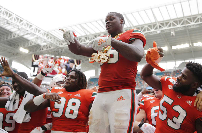 MIAMI, FLORIDA - OCTOBER 19: Shaquille Quarterman #55 of the Miami Hurricanes celebrates with the turnover chain against the Georgia Tech Yellow Jackets during the second half at Hard Rock Stadium on October 19, 2019 in Miami, Florida. (Photo by Michael Reaves/Getty Images)