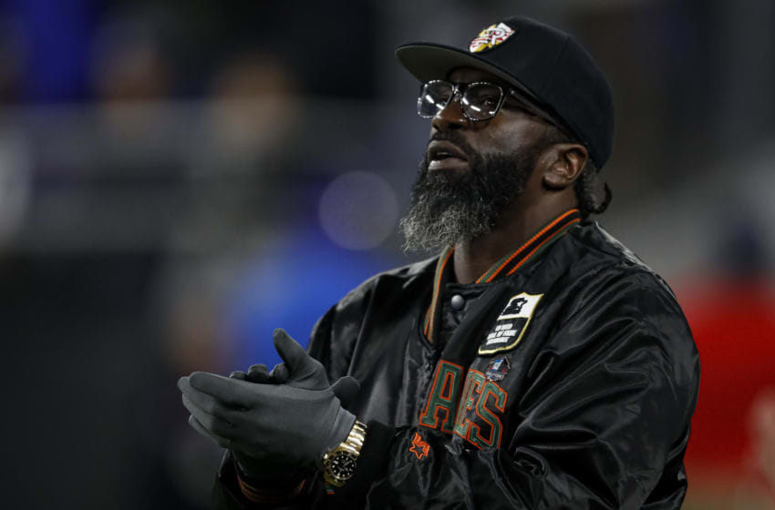 BALTIMORE, MD - NOVEMBER 03: Former Baltimore Ravens safety Ed Reed reacts to a play during the first half of the game between the Baltimore Ravens and the New England Patriots at M&T Bank Stadium on November 3, 2019 in Baltimore, Maryland. (Photo by Scott Taetsch/Getty Images)