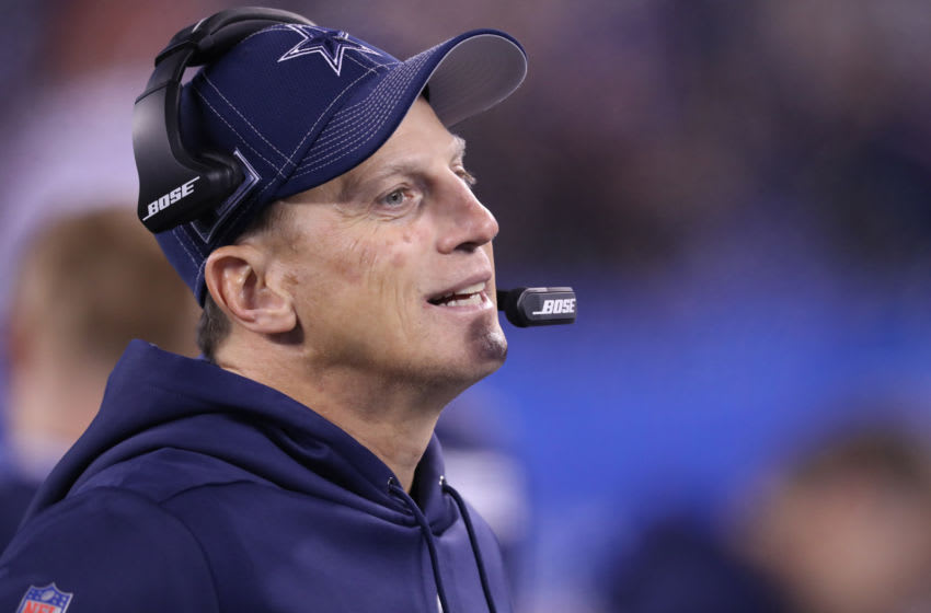EAST RUTHERFORD, NEW JERSEY - NOVEMBER 04: Tight Ends Coach Doug Nussmeier of the Dallas Cowboys follows a play against the New York Giants in the second half at MetLife Stadium on November 04, 2019 in East Rutherford, New Jersey.The Dallas Cowboys defeated the New York Giants 37-18. (Photo by Al Pereira/Getty Images)