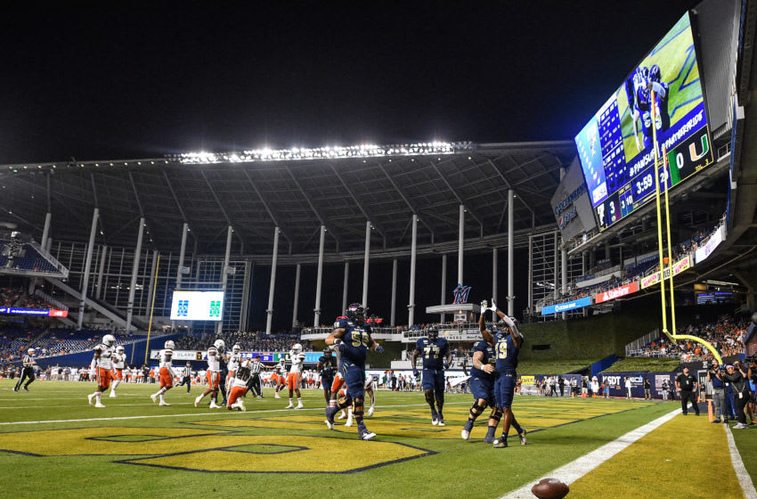 MIAMI, FLORIDA - NOVEMBER 23: Shemar Thornton #19 of the FIU Golden Panthers celebrates after scoring a touchdown against the Miami Hurricanes in the first quarter at Marlins Park on November 23, 2019 in Miami, Florida. (Photo by Mark Brown/Getty Images)