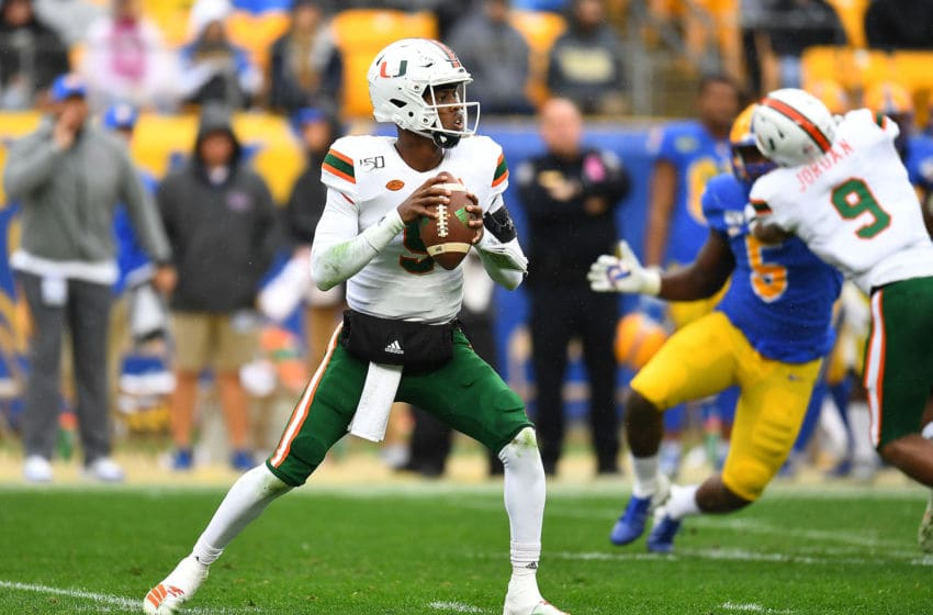 PITTSBURGH, PA - OCTOBER 26: N'Kosi Perry #5 of the Miami Hurricanes in action during the game against the Pittsburgh Panthers at Heinz Field on October 26, 2019 in Pittsburgh, Pennsylvania. (Photo by Joe Sargent/Getty Images)