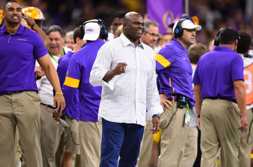 NEW ORLEANS, LA - JANUARY 13: LSU alumni and ESPN broadcaster Booger McFarland cheers on his team against the Clemson Tigers during the College Football Playoff National Championship held at the Mercedes-Benz Superdome on January 13, 2020 in New Orleans, Louisiana. (Photo by Jamie Schwaberow/Getty Images)