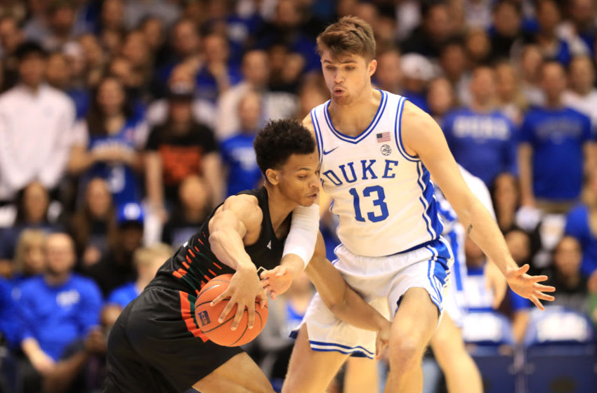 DURHAM, NORTH CAROLINA - JANUARY 21: Joey Baker #13 of the Duke Blue Devils tries to stop Isaiah Wong #2 of the Miami (Fl) Hurricanes at Cameron Indoor Stadium on January 21, 2020 in Durham, North Carolina. (Photo by Streeter Lecka/Getty Images)