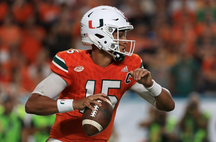 MIAMI GARDENS, FL - OCTOBER 08: Brad Kaaya #15 of the Miami Hurricanes passes during a game against the Florida State Seminoles at Hard Rock Stadium on October 8, 2016 in Miami Gardens, Florida. (Photo by Mike Ehrmann/Getty Images)